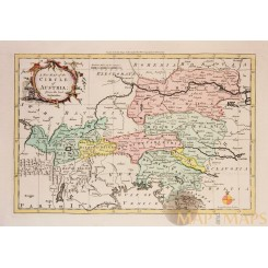 A NEW MAP OF THE CIRCLE OF AUSTRIA Antique map Austria Rollos1756