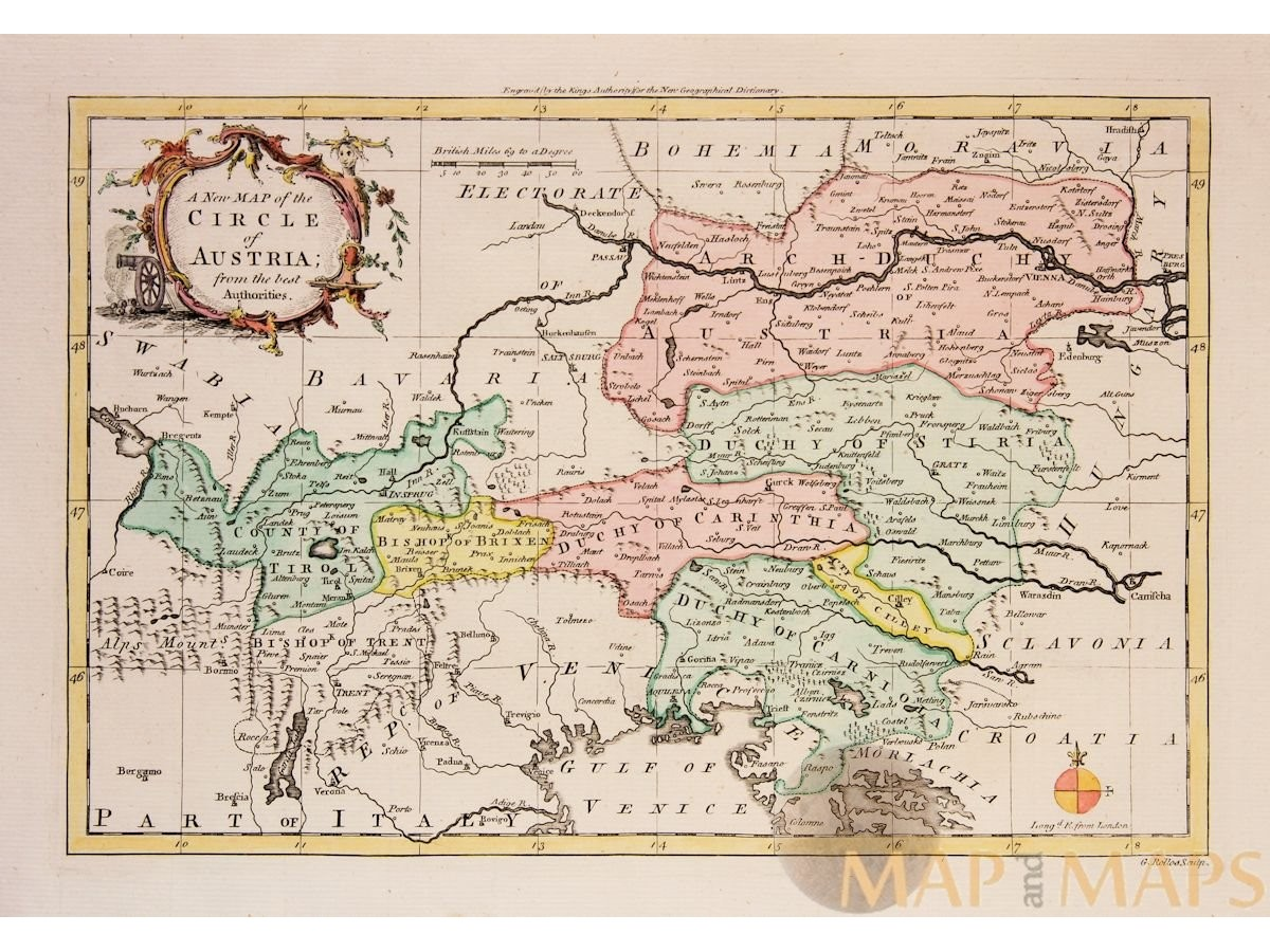 A NEW MAP OF THE CIRCLE OF AUSTRIA Antique map Austria Rollos1756 ...