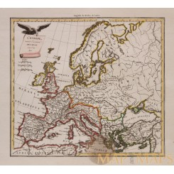 L'EUROPE AVANT INVASION DES HUNS OLD MAP Europe before the Huns MALTE-BRUN 1812