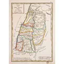 Carte de la Terre Promise Partagée par Josue Old map Promised Land Vallet 1784