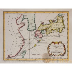 Carte des isles du Japon Old map Japan by Bellin 1773