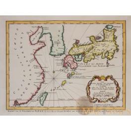 Carte des isles du Japon Old map Kaart van de eilanden van Japan Bellin 1773
