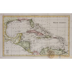Caribbean-Cuba-Florida- Antique map WEST - INDIES Walker 1810