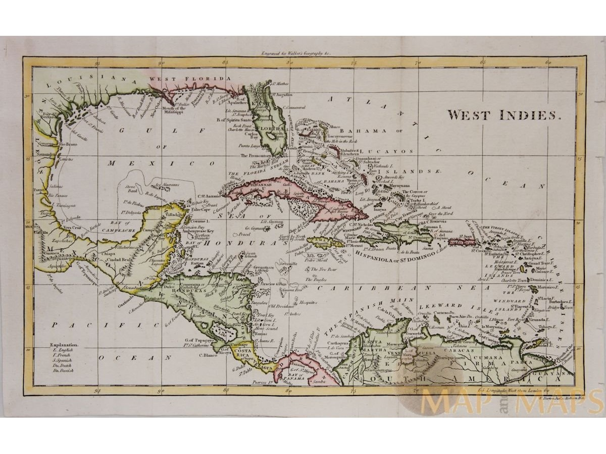 Antique Map Of Florida.West Indies Antique Map Caribbean Islands By Walker M M