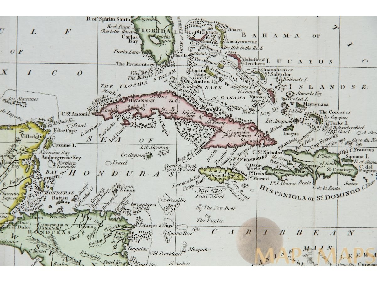 Cuba To Florida Map.West Indies Antique Map Caribbean Islands By Walker M M