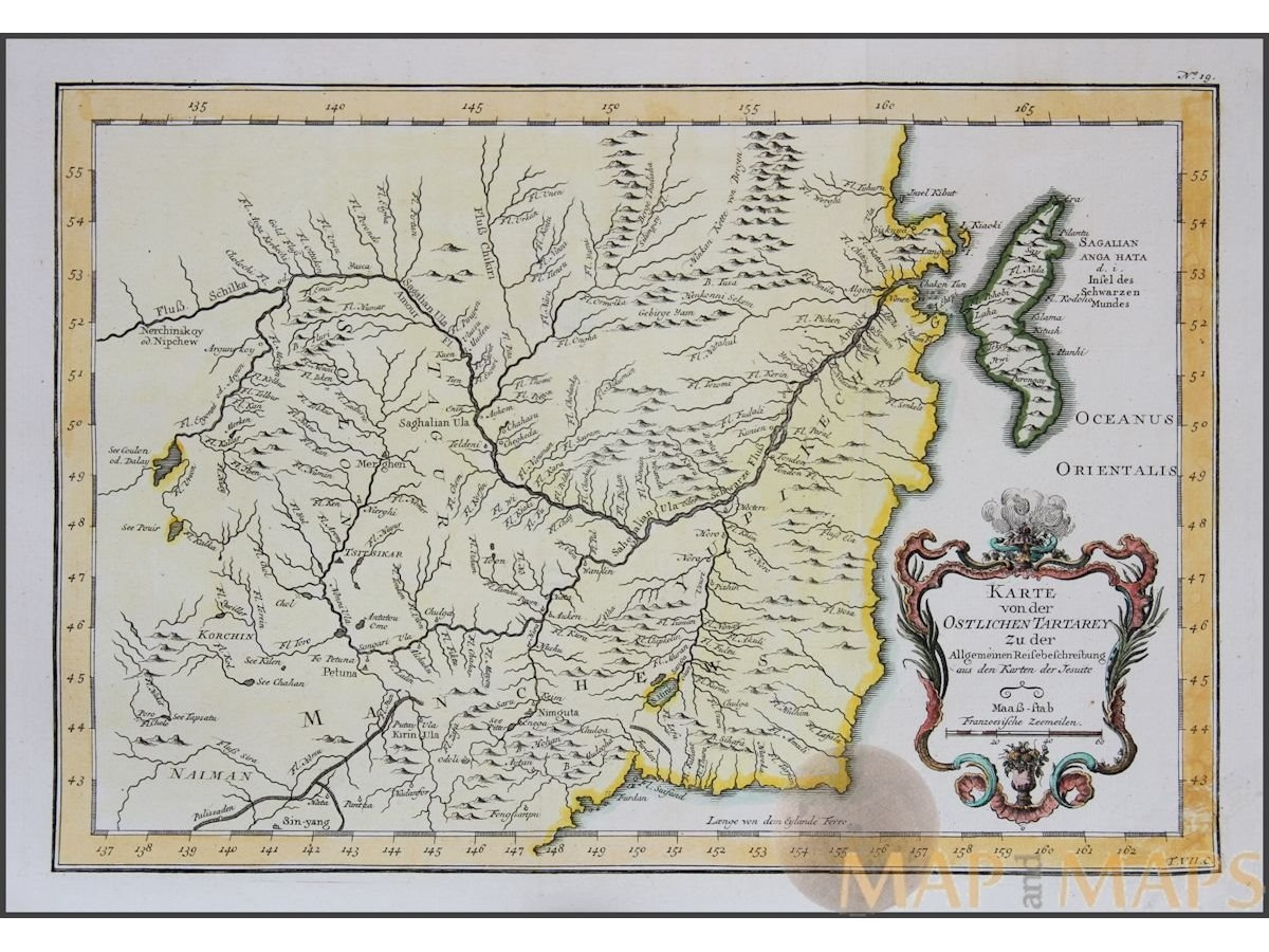 Eastern Tartary Old Map China By Bellin 1764 Mapandmaps