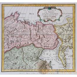 Suite de la Carte de la Sibérie et la Pays de Kamtschatka Old map Bellin 1747