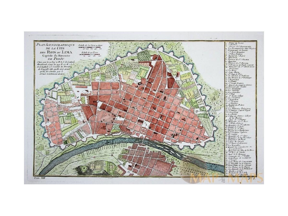 KINGDOM LIMA PERU ANTIQUE MAP CITE DES ROIS OU LIMA BELLIN ...