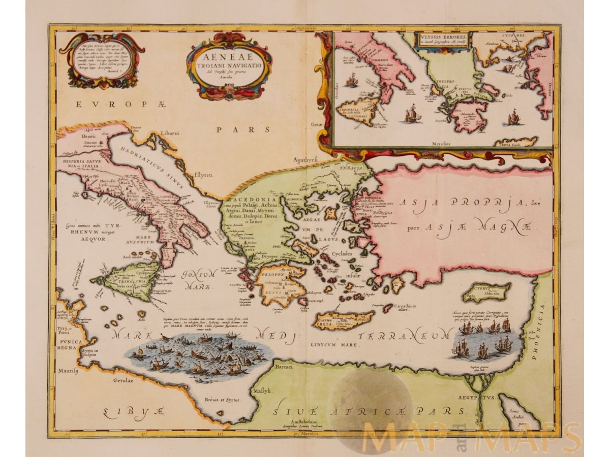 Mediterranean Sea Old Map Aeneae Troiani Jansson 1653   eBay