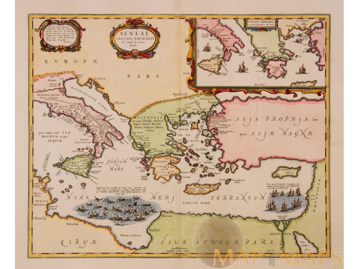 THRACIAE VETERIS TYPUS Old Map Ancient Greece Mediterranean Janssonius 1677