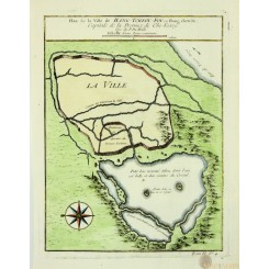 Old plan of Hongzou China Hang Tcheou ou Hang chew Bellin 1764