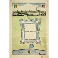 ELBURG Holland Antique town plan Ex Ioh Isacio Pontano by Blaeu 1649