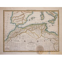 North Africa Antique map Barbarie Lapie 1816