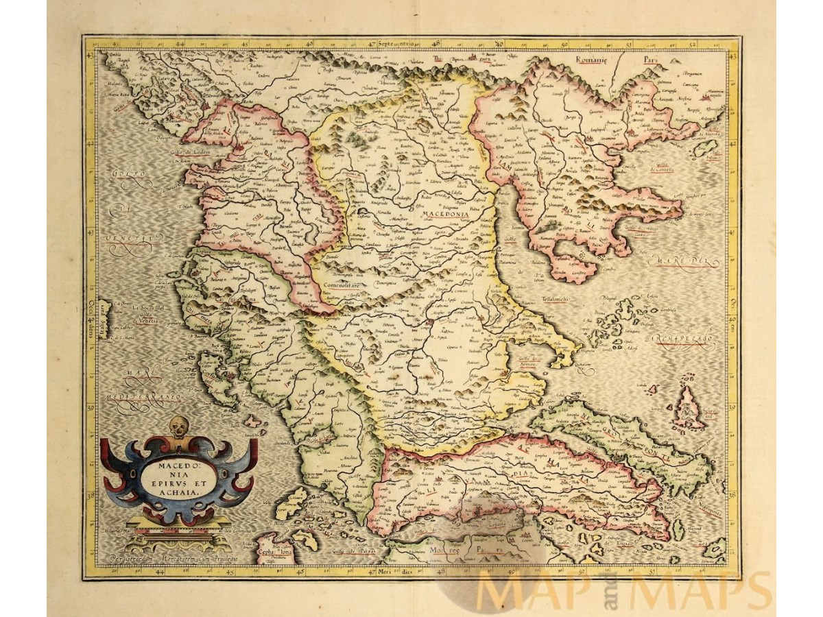 17th Century antique map of MACEDONIA the Balkan Peninsula ...