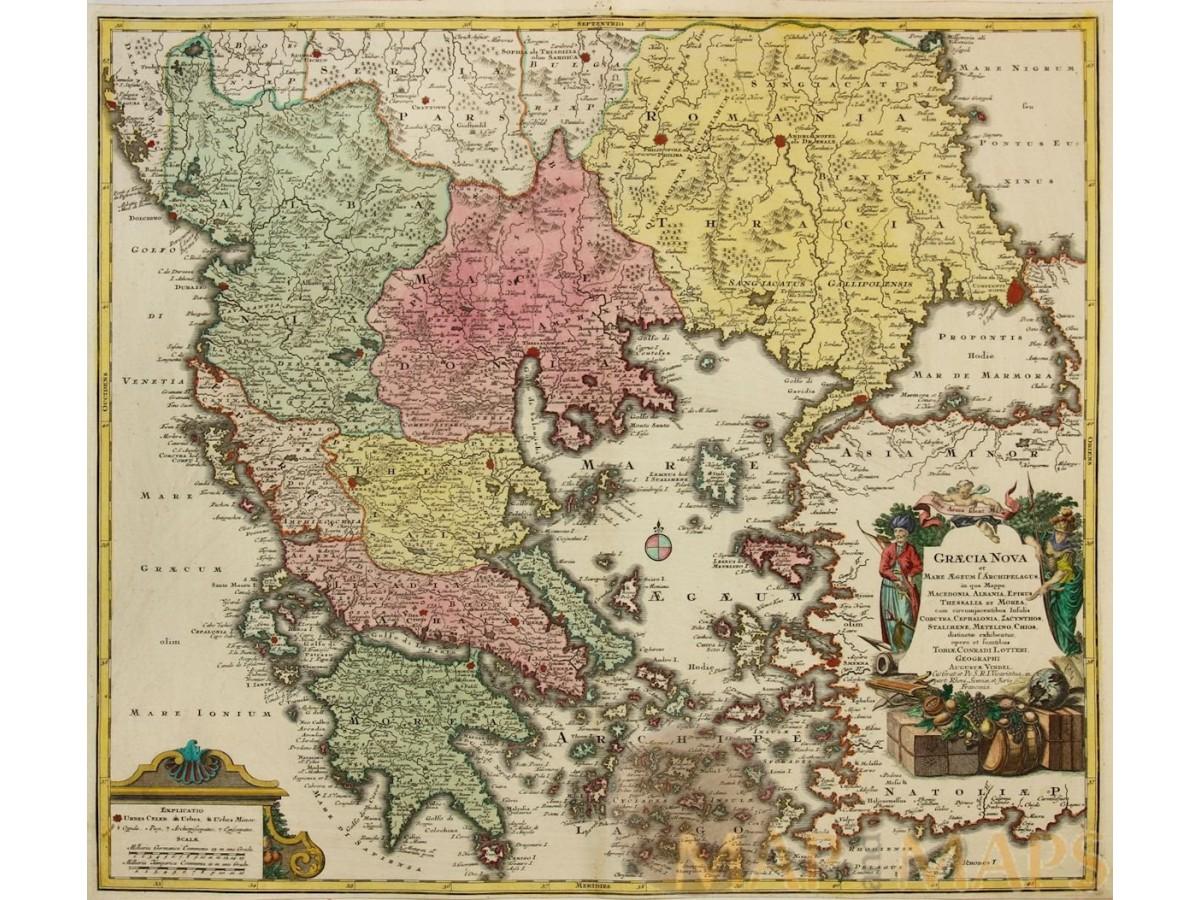 GRAECIA NOVA ET MARE AEGUM Old map Balkan Peninsula Lotter/Vindel ...