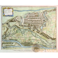 CONY A STRONG CITY OF PIEDMONT Old plan Cuneo Italy Rapin/Tindal 1743.