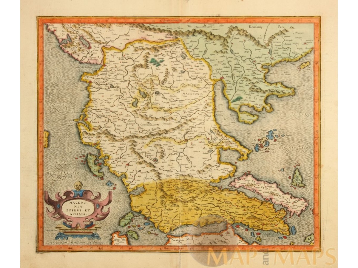 MACEDONIA EPIRUS ET ACHAIA Old map Balkan Peninsula Greece Mercator ...