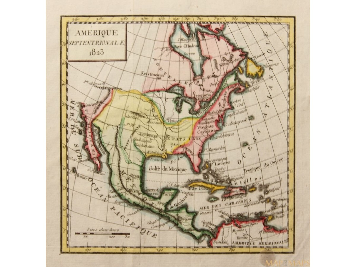 1823 Amérique Septentrionale Old map Northern America Vaugondy 1823.  Loading zoom