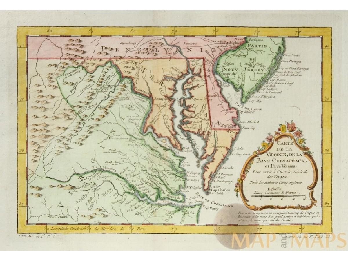 Map Of North Coast Of France.Carte De La Virginie Old Map North America Bellin 1747 Mapandmaps