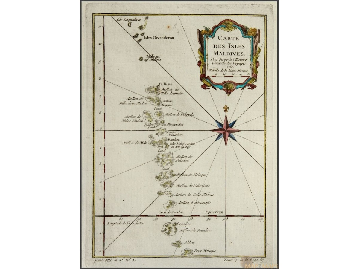 Carte Des Isles Maldives Old Map Philippines Bellin 1750