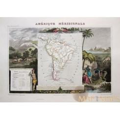 SOUTH AMERICA ANTIQUE MAP AMERIQUE MERIDIONALE VICTOR LEVASSEUR 1856