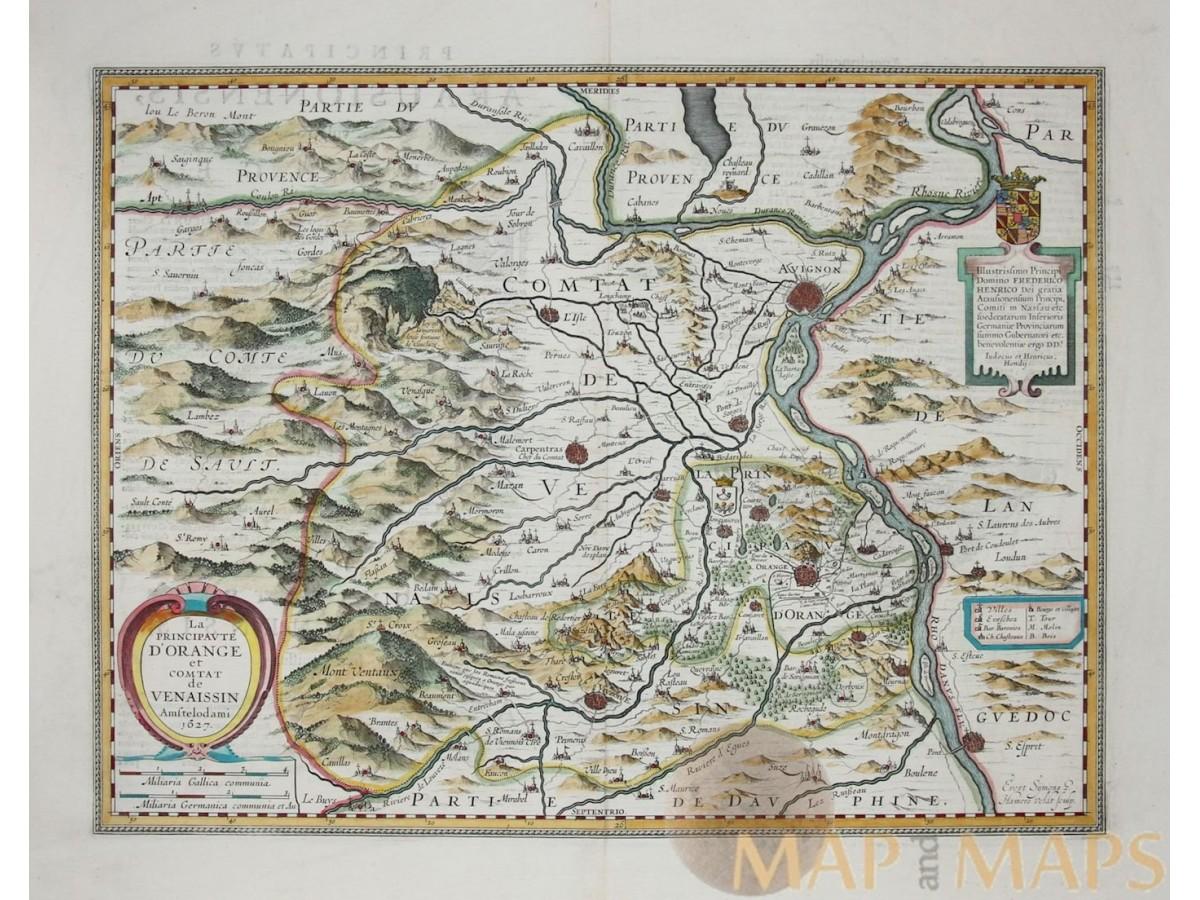 Carpentras France Map.Antique Map France La Principaute D Orange Hondius 1638 Mapandmaps