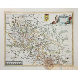 SILESIAE DUCATUS Old Map Silesia Poland Tschechien Janssonius-Hondius 1638