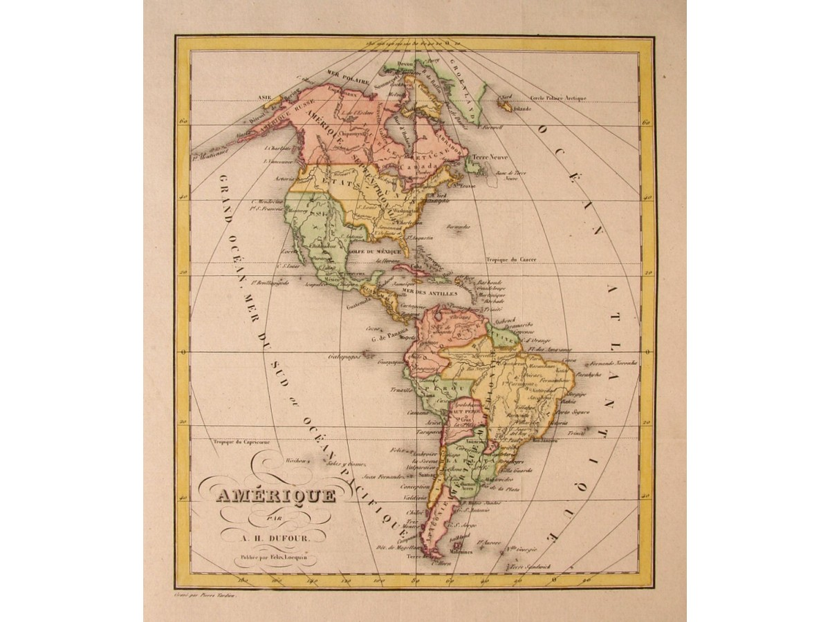 United States Mexico Caribbean Brazil Dufour map c1830 ...