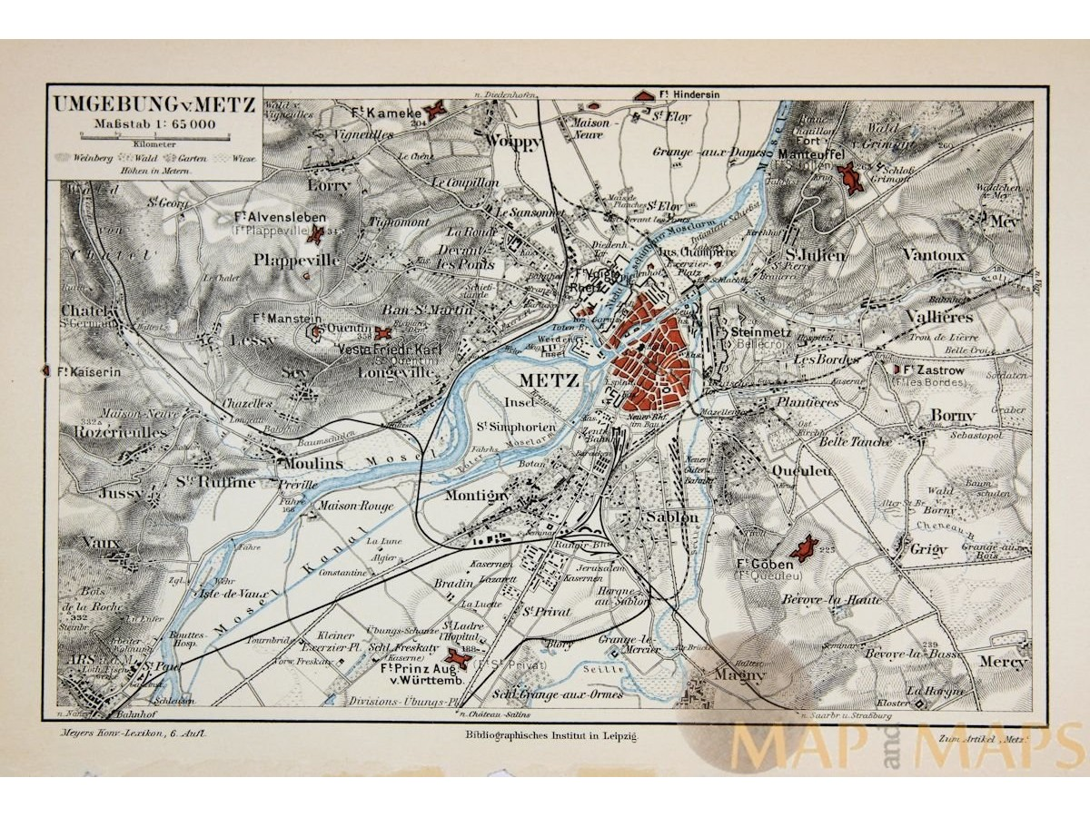 Antique Old Map Of Metz France 1905 Mapandmaps