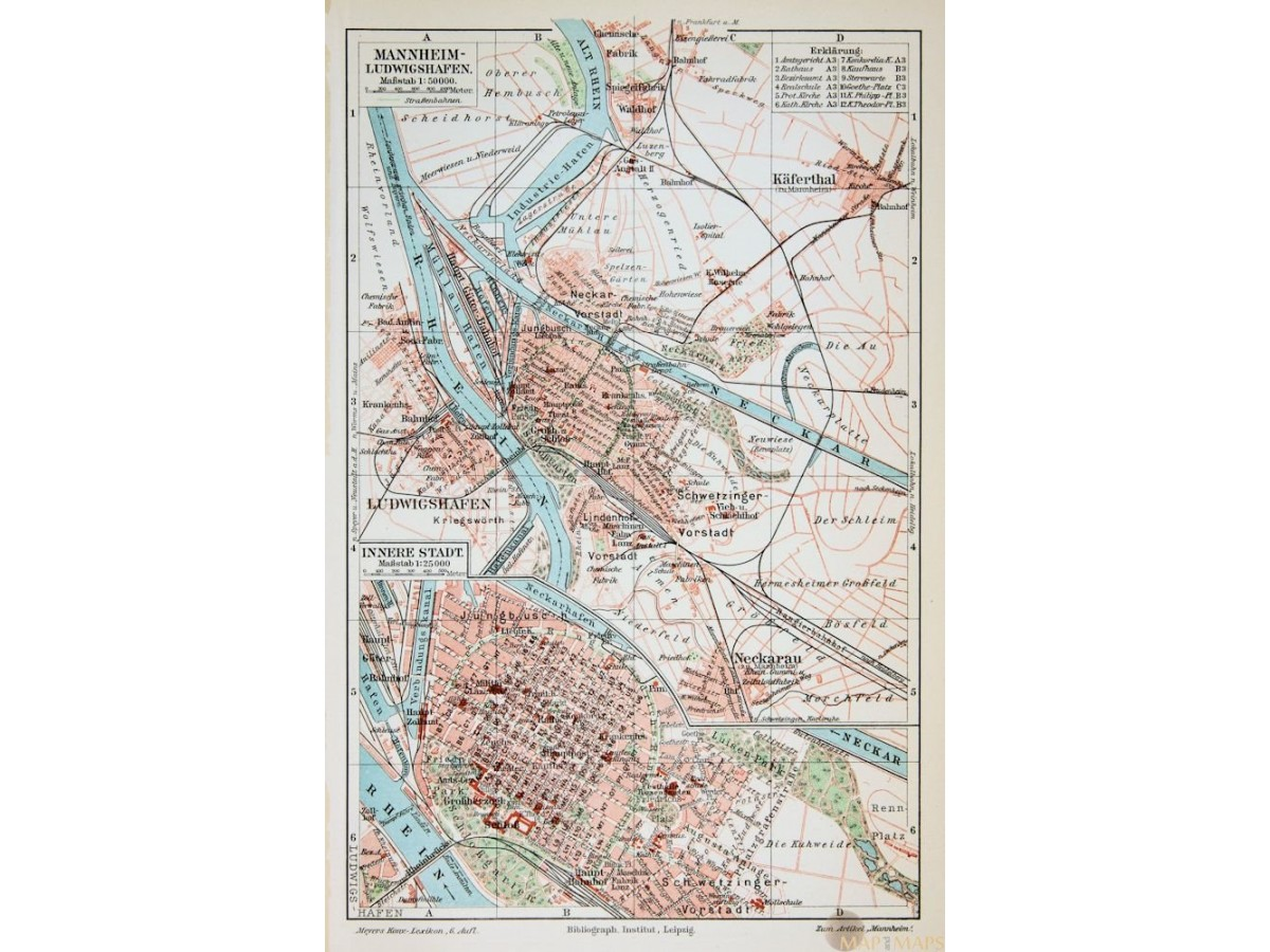Map Of Germany Mannheim.Antique Map Mannheim Ludwigshafen Germany Mapandmaps