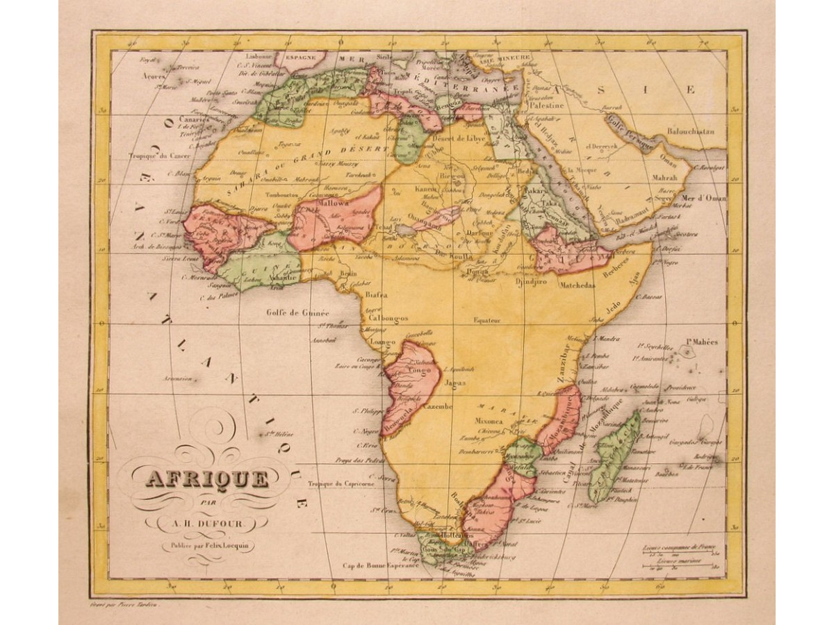 Africa Old Map Suring The 18th Century Dufour 1830 Mapandmaps