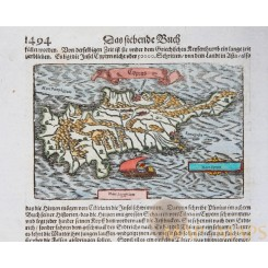 Cyprus 17th century old map by Sebastian Münster 1628