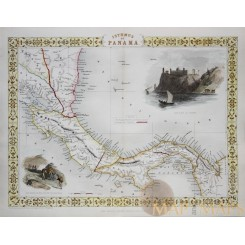 Isthmus of Panama Antique map Canal routes Tallis 1851
