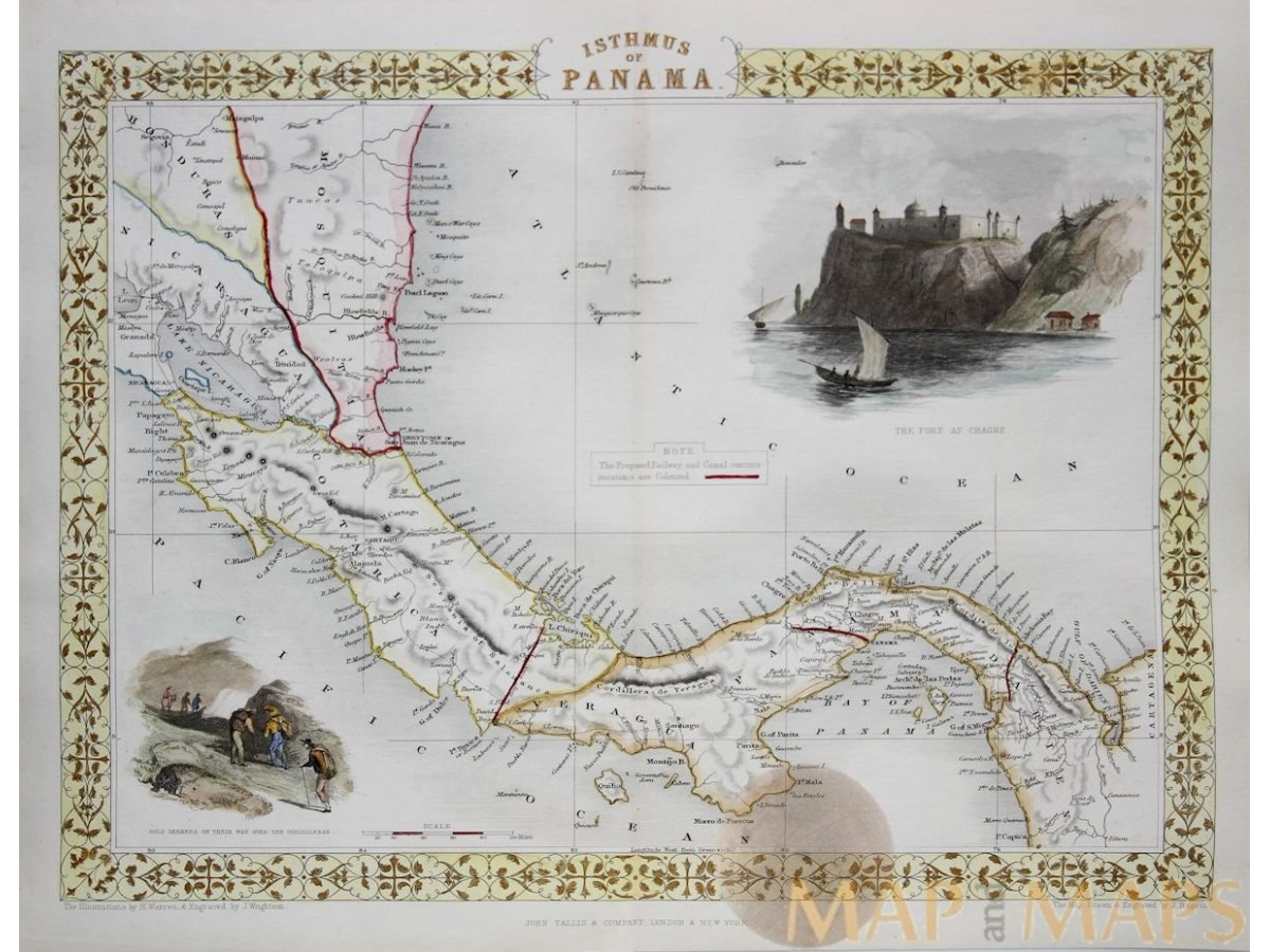 isthmus of panama antique map canal routes tallis m m