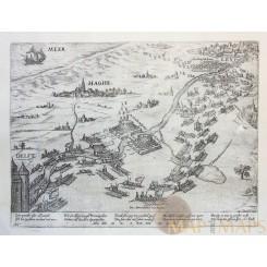 Siege of Leiden Holland Leiden Hague Old etching Eighty Years War Hogenberg 1574
