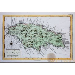 Carte de L' Isle de La Jamaique Old engraving Jamaica by Bellin 1754