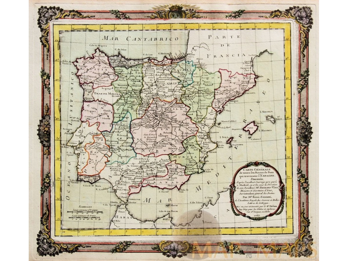 Map Of Spain Old.Spain Portugal Old Map L Espagne Dressee Desnos 1765
