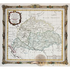 HUNGARY WITH ADJACENT PROVINCES ANTIQUE MAP LA HONGRIE DE LA TOUR DESNOS 1766