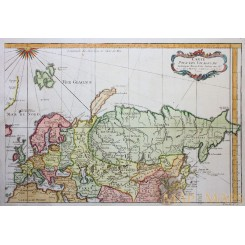 VOYAGES MARCO POLO, RUSSIA, ASIA, EUROPE-JENKISSON, ANTIQUE MAP BELLIN 1753
