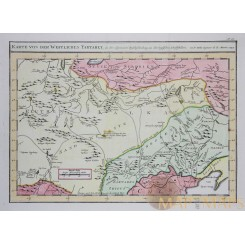 West Tartary antique map Mongolia Russia China map Bellin