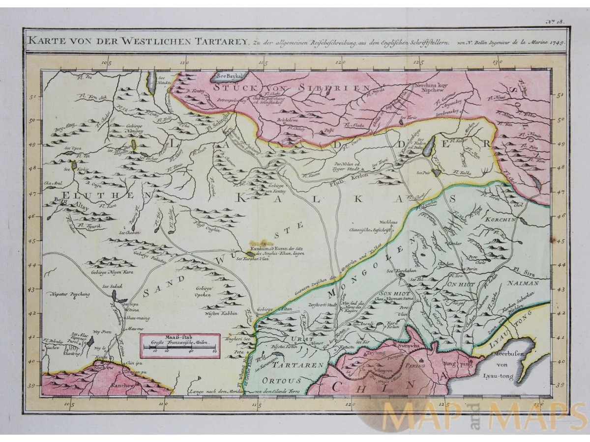 Karte China.West Tartary Antique Map Mongolia China Bellin 1749