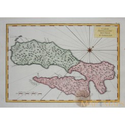 Ambon Island Attractive old map Maluku Indonesia by Bellin 1758.