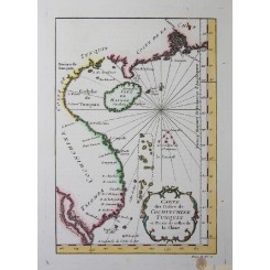 ANTIQUE MAP HAINAN ISLAND CHINA VIETNAM COST OLD ENGRAVING BELLIN 1752