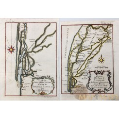 Two Africa antique maps of the Senegal rivers - Bellin 1750