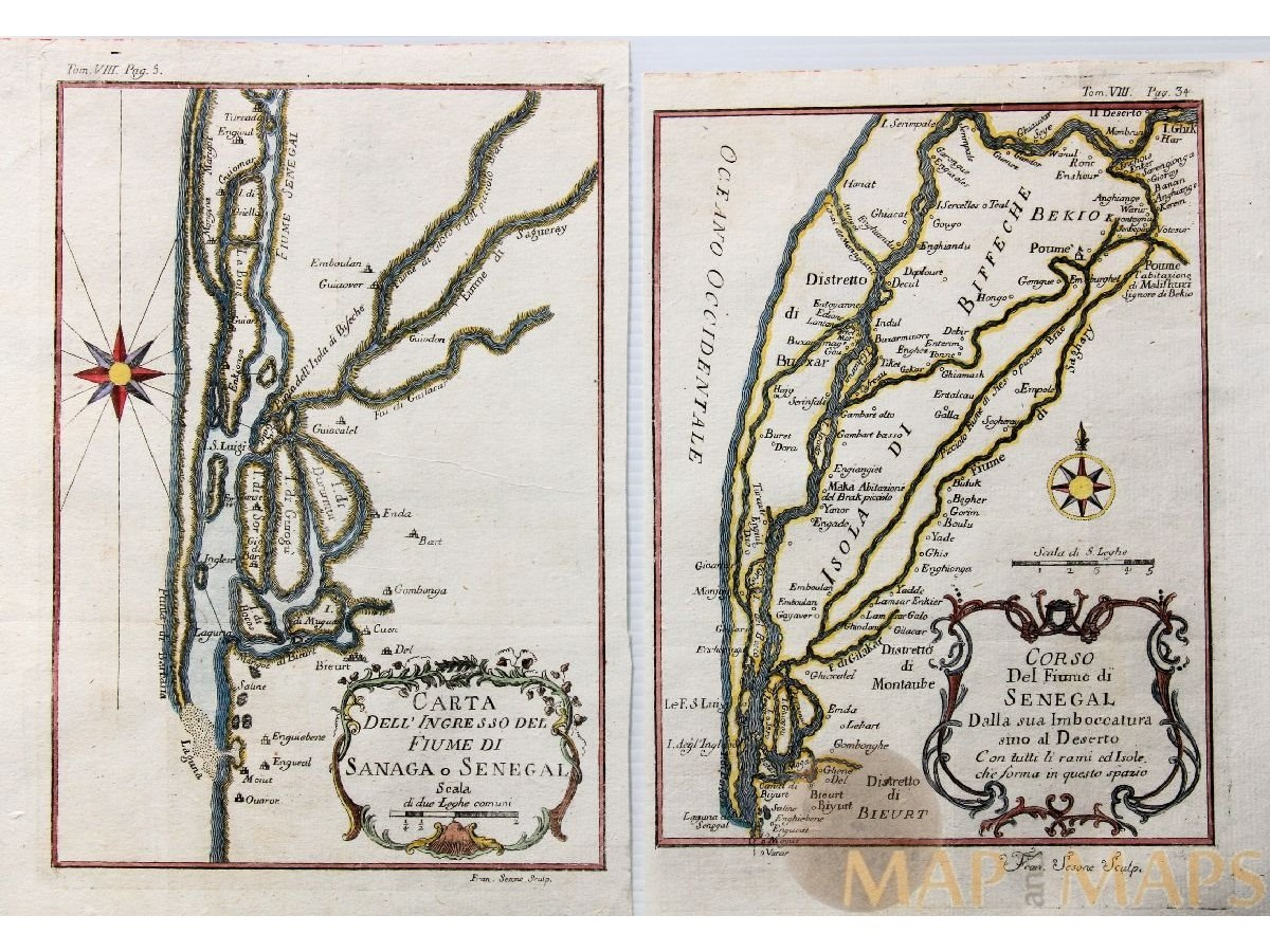 Africa Antique Maps Of Senegal Rivers Mapmaker Bellin Mapandmaps