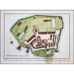 ONRUST ISLAND, JAKARTA INDONESIA, ANTIQUE PLAN BATAVIA BY BELLIN/PREVOST c1750