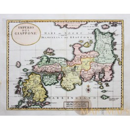 EMPIRE OF JAPAN ANTIQUE MAP IMPERIO DEL GIAPPONE TIRION ALBRIZZI 1740