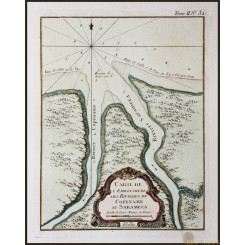 SURINAME , GUYANA, RIVERS, HISTORY, ANTIQUE MAP, BELLIN 1758