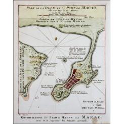 Plan de la ville et du Port Macao antique plan Macau China Bellin 1752