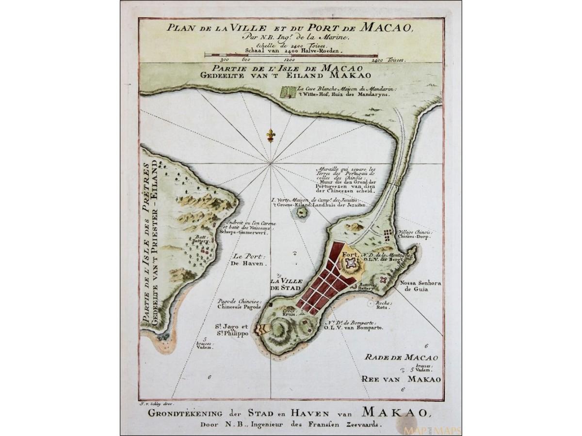Plan De La Ville Et Du Port Macao Port Of Macau Bellin 1752